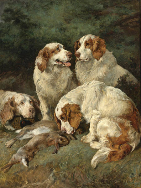 Wall Art - Painting - Clumber Spaniels With The Day's Bag by John Emms