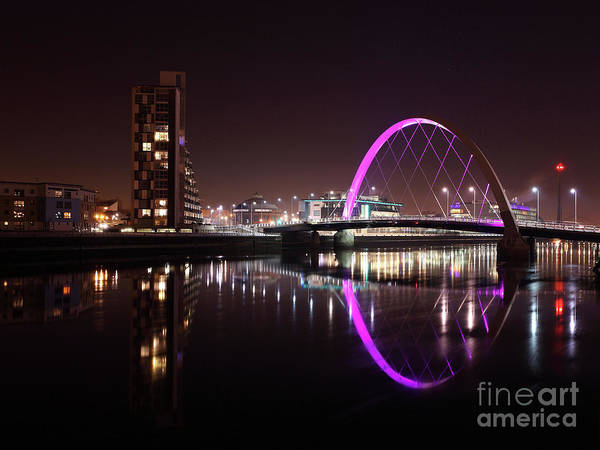 Photograph - Clyde Arc Night Reflections by Maria Gaellman