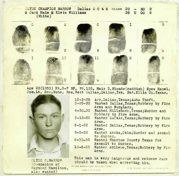 Clyde Photograph - Clyde Barrow Fingerprints by Jon Neidert