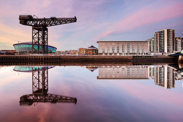 Photograph - Clyde Waterfront Reflection At Sunset by Grant Glendinning