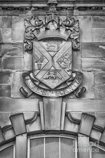 Wall Art - Photograph - Clydebank Crest At Bruce Street Baths Mono by Antony McAulay