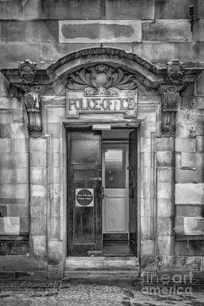 Clydebank Photograph - Clydebank Former Police Station Entrance Mono by Antony McAulay