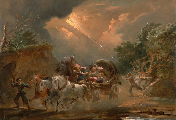 Wall Art - Painting - Coach In A Thunderstorm by Philip James de Loutherbourg