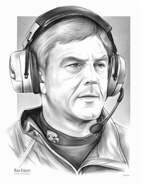 Football Drawing - Coach Kirk Ferentz by Greg Joens