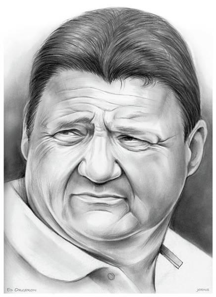 Football Drawing - Coach Orgeron by Greg Joens