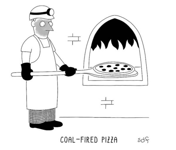 Oven Drawing - Coal Fired Pizza by Seth Fleishman