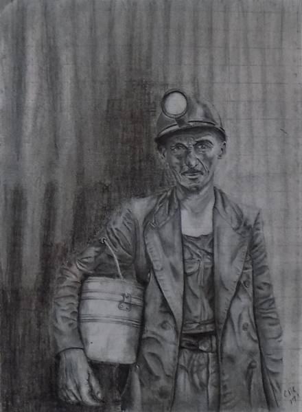 Drawing - Coal Miner by Chuck Caputo