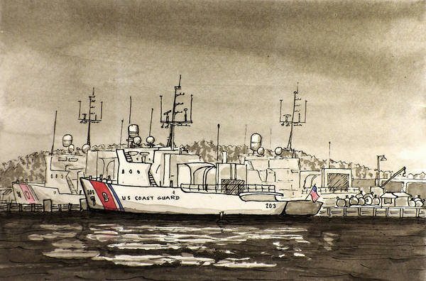 Wall Art - Painting - Coast Guard Base Portsmouth by Vic Delnore