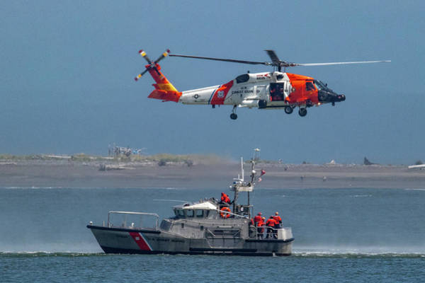 Photograph - Coast Guard Helicopter And Motorboat by Lost River Photography