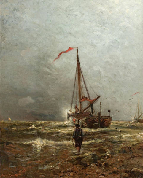 Impressionistic Sailboats Painting - Coast Of Holland by Arthur Quartley