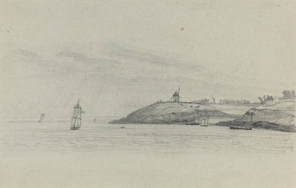 Wall Art - Drawing - Coastal Landscape With Shipping - Windmill In Distance by Eugene Boudin