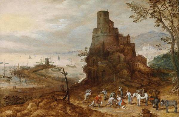Painting - Coastal Landscape With The Scipios Grave by Jan Brueghel the Younger