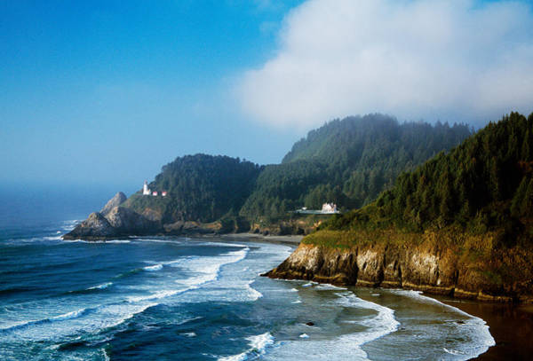 Heceta Head Lighthouse Photograph - Coastal Scene In Mist With Heceta Head by Panoramic Images