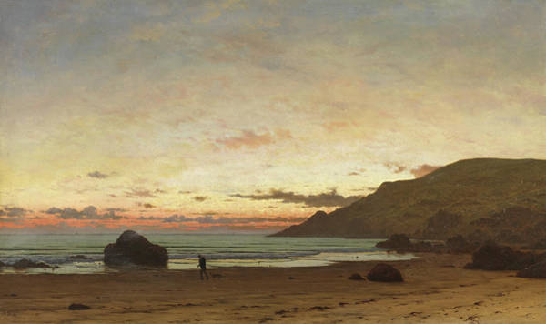 Night Walk Painting - Coastal Scene With A Man And A Dog by Frederick William Meyer
