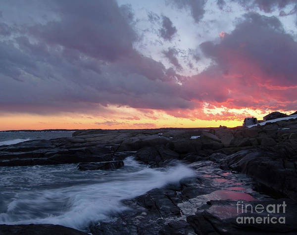 Photograph - Coastal Sunset Cape Neddick - York Maine  -21056 by John Bald