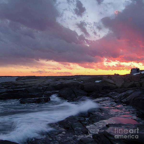 Photograph - Coastal Sunset, Cape Neddick, York, Maine  -21056-sq by John Bald