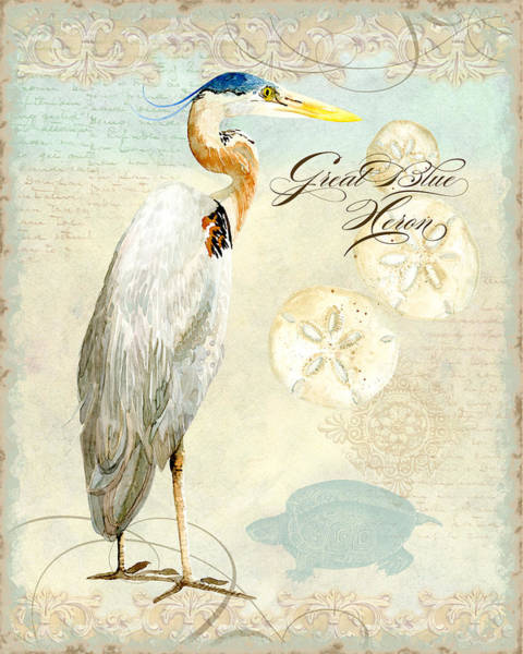 Beach Collage Painting - Coastal Waterways - Great Blue Heron 3 by Audrey Jeanne Roberts
