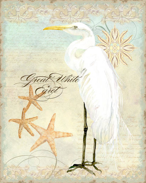 Beach Collage Painting - Coastal Waterways - Great White Egret 3 by Audrey Jeanne Roberts