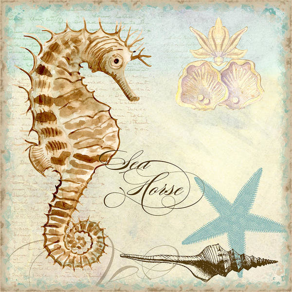 Wall Art - Painting - Coastal Waterways - Seahorse 2 by Audrey Jeanne Roberts