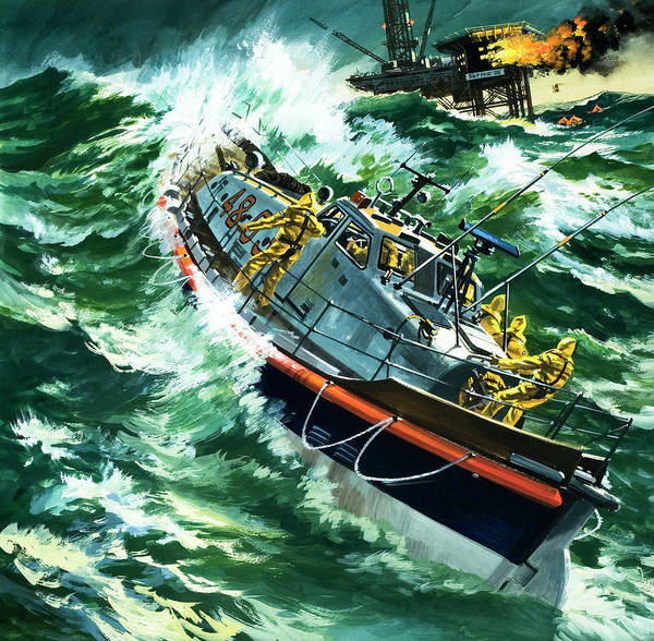 Perilous Wall Art - Painting - Coastguard Lifeboat by Wilf Hardy