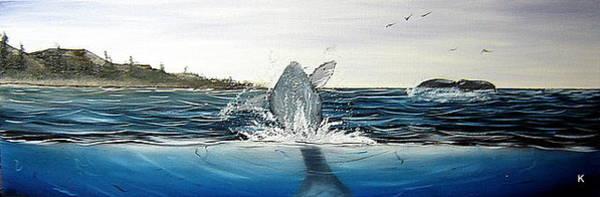 Anglin Wall Art - Painting - Coastline Whales by Kalib Anglin