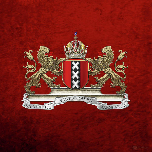 Digital Art - Coat Of Arms Of Amsterdam Over Red Velvet by Serge Averbukh
