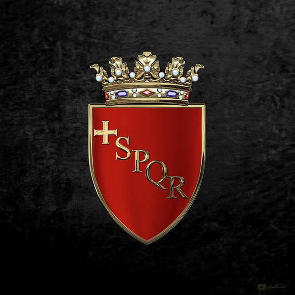 Digital Art - Coat Of Arms Of Rome Over Black Velvet by Serge Averbukh