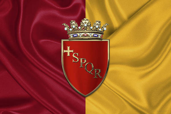 Digital Art - Coat Of Arms Of Rome Over Flag Of Rome by Serge Averbukh