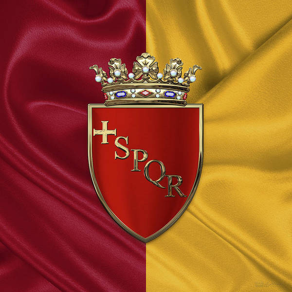 Digital Art - Coat Of Arms Of Rome Over Flag by Serge Averbukh