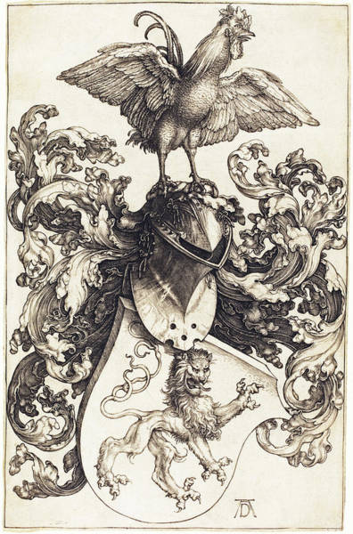 Drawing - Coat Of Arms With A Lion And A Cock by Albrecht Durer