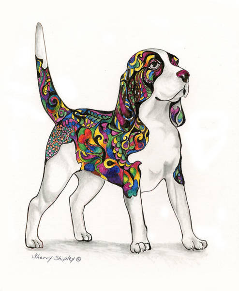 Drawing - Coat Of Many Colors, Beagle by Sherry Shipley