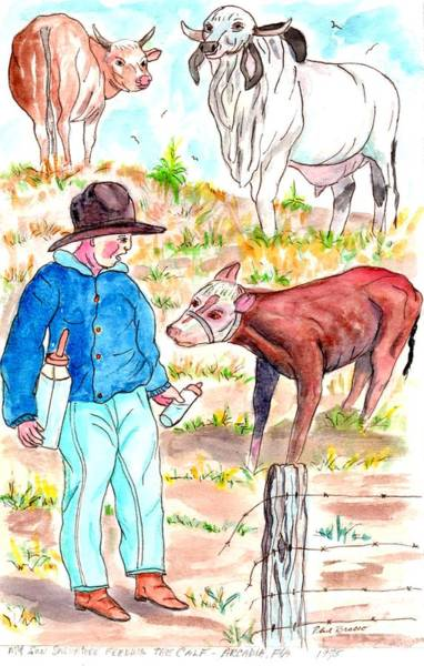Coaxing The Herd Home Art Print