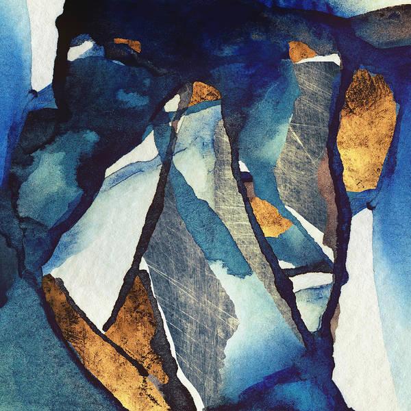 Contrast Digital Art - Cobalt Abstract by Spacefrog Designs