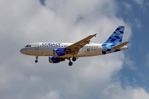 Airbus A319 Wall Art - Photograph - Cobalt Air Airbus A319-112 by Smart Aviation