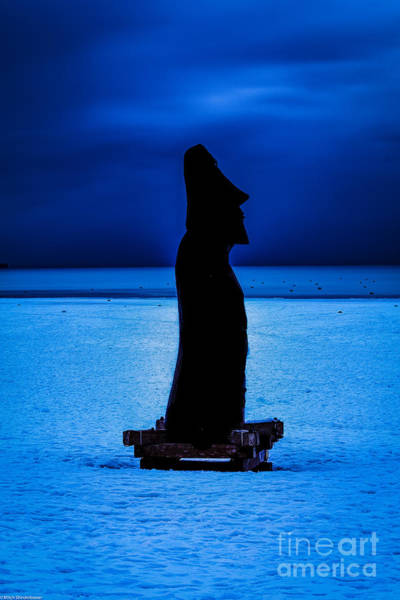 Ice Carving Photograph - Cobalt Blue Moai by Mitch Shindelbower