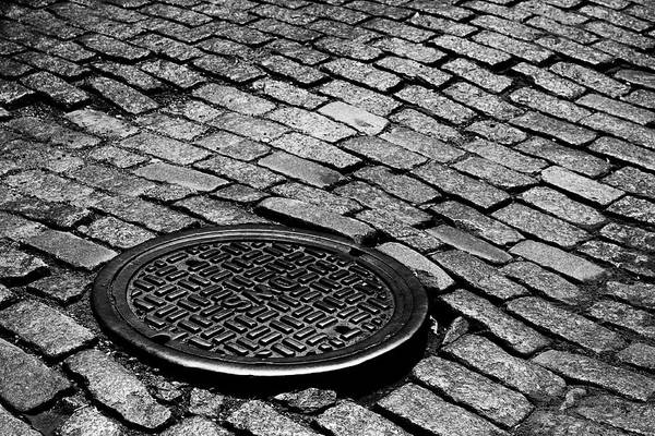 Photograph - Cobble Stone And Manhole by Cate Franklyn