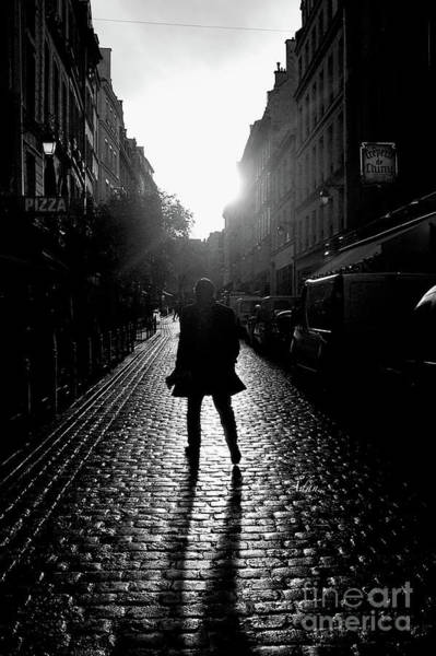 Rights Managed Images Wall Art - Photograph - Cobblestone Path Home Paris Bw by Felipe Adan Lerma
