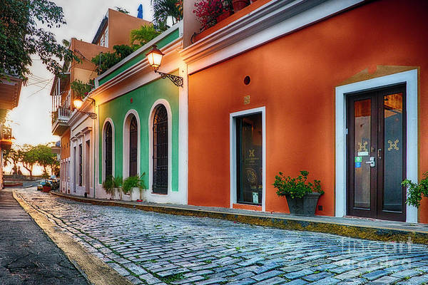 Wall Art - Photograph - Cobblestone Street At Sunset, Old San Juan, Puerto Rico by George Oze