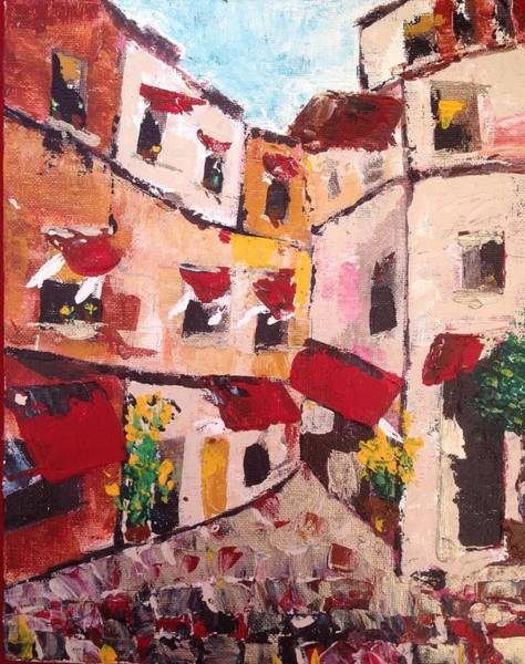 Architecture Painting - Cobblestone Street In Paris by Roxy Rich
