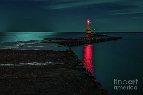 Photograph - Cobourg Harbour Lights by Roger Monahan