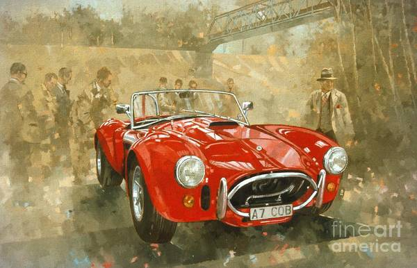 Old Car Wall Art - Painting - Cobra At Brooklands by Peter Miller