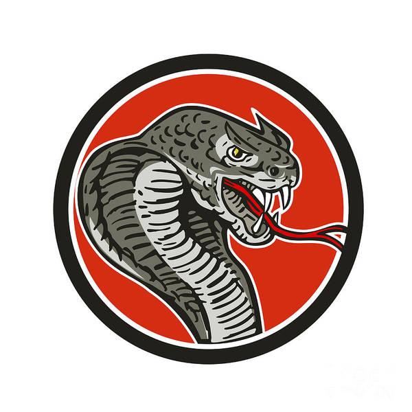 Fork Digital Art - Cobra Viper Snake Circle Retro by Aloysius Patrimonio