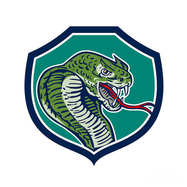 Fork Digital Art - Cobra Viper Snake Shield Retro by Aloysius Patrimonio