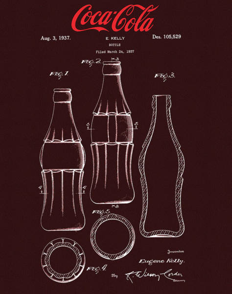 Wall Art - Mixed Media - Coca Cola Bottle Design by Dan Sproul