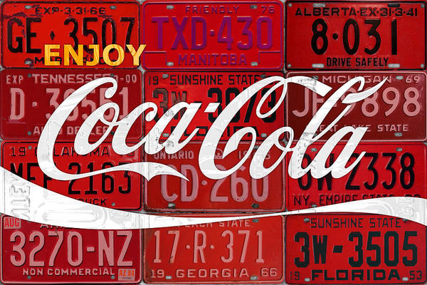 Wall Art - Mixed Media - Coca Cola Enjoy Soft Drink Soda Pop Beverage Vintage Logo Recycled License Plate Art by Design Turnpike