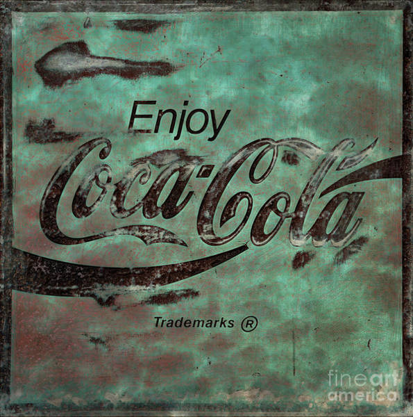 Wall Art - Photograph -  Coca Cola Sign Grungy Retro Style No Border by John Stephens
