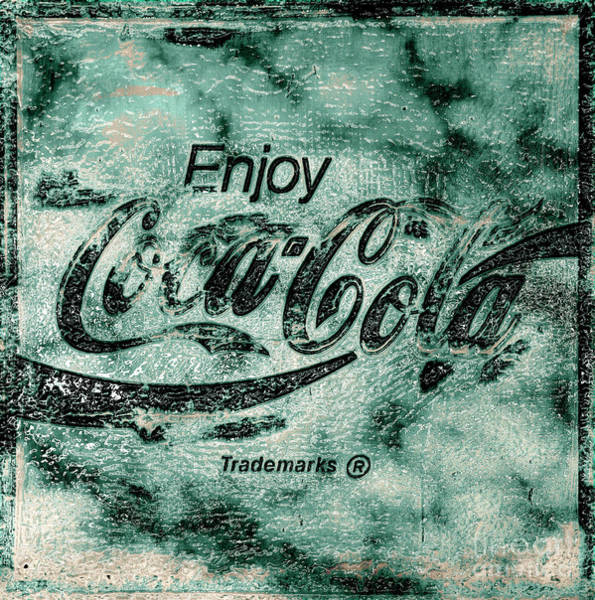 Wall Art - Photograph - Coca Cola Sign Mottled Dusty Teal Accent Black by John Stephens