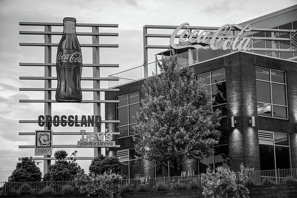 Photograph - Coca Cola Sign - Pinnacle Hills - Black And White by Gregory Ballos