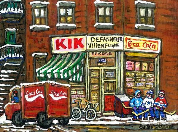 Painting - Coca Cola Truck Rue Villeneuve Kik Cola Depanneur Montreal Hockey Art Best Canadian Paintings by Carole Spandau