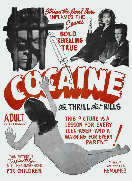 Snorting Wall Art - Photograph - Cocaine ... The Thrill That Kills Lobby Poster 1948 by Daniel Hagerman